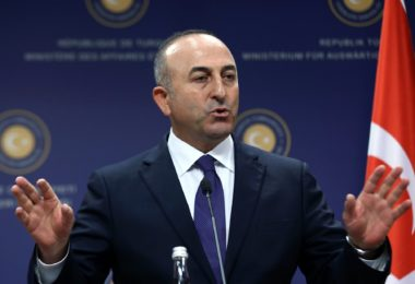 Turkish foreign minister Mevlut Cavusoglu speaks during a press conference with his Iraq's counterpart in Ankara, on November 5, 2014.  Iraq's Foreign Minister Ibrahim al-Jaafari made a crucial visit to Turkey aimed at mending ties badly strained under the rule of former prime minister Nuri al-Maliki. AFP PHOTO/ADEM ALTANADEM ALTAN/AFP/Getty Images