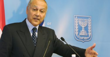 JERUSALEM, ISRAEL - DECEMBER 1:  Egyptian Foreign Minister Ahmed Abul Gheit gestures during his press conference with Israeli Foreign Minister Silvan Shalom after their meeting December 1, 2004 in Jerusalem, Israel. Abul Gheit is visiting Israel for talks centered on the planned pullout of Gaza and Syria's offer to resume peace negotiations. (Photo by Getty Images)