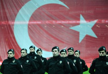 Turkish riot police stand guard before a soccer exhibition game at Besiktas Vodafone Arena in Istanbul, Turkey, December 22, 2016. REUTERS/Yagiz Karahan