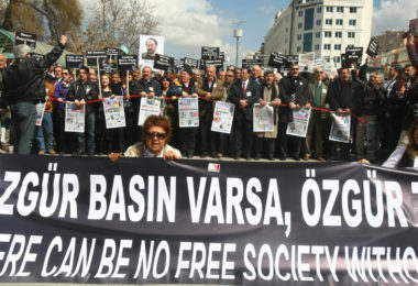 Journalists and activists participate in a rally calling for teh freedom of press central Ankara on March 19, 2011.  AFP PHOTO/ADEM ALTAN (Photo credit should read ADEM ALTAN/AFP/Getty Images)