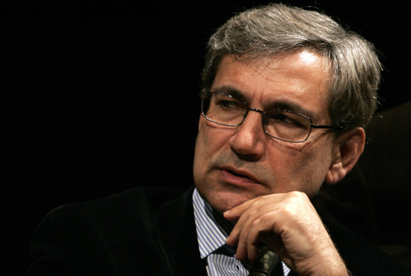 Hamburg, GERMANY: Turkish Nobel literature laureate Orhan Pamuk gestures during a reading at the Schauspielhaus theatre in Hamburg, northern Germany, 02 May 2007. Pamuk began his book tour in Germany after cancelling a trip earlier this year reportedly due to death threats.       AFP PHOTO    DDP/ROLAND MAGUNIA    GERMANY OUT (Photo credit should read ROLAND MAGUNIA/AFP/Getty Images)