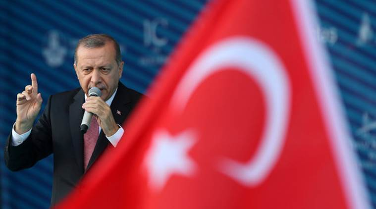Turkey's President Tayyip Erdogan makes a speech during the opening ceremony of newly built Yavuz Sultan Selim bridge, the third bridge over the Bosphorus linking the city's European and Asian sides in Istanbul, Turkey, August 26, 2016. REUTERS/Murad Sezer