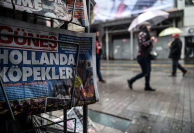 "This picture taken in Istanbul on March 13, 2017 shows a newspaper bearing a headline concerning diplomatic tensions between Turkey and The Netherlands,  which translates as """"Dogs of Europe""  in Istanbul on March 13, 2017. Turkish President Recep Tayyip Erdogan warned the Netherlands would pay for blocking his ministers from holding rallies to win support in a referendum on expanding his powers, as a crisis escalated with Turkey's key EU partners.Erdogan also repeated hugely controversial accusations that the Netherlands -- occupied by Nazi Germany in World War II -- was behaving like fascists in its treatment of Turkish ministers.  / AFP PHOTO / OZAN KOSE        (Photo credit should read OZAN KOSE/AFP/Getty Images)"