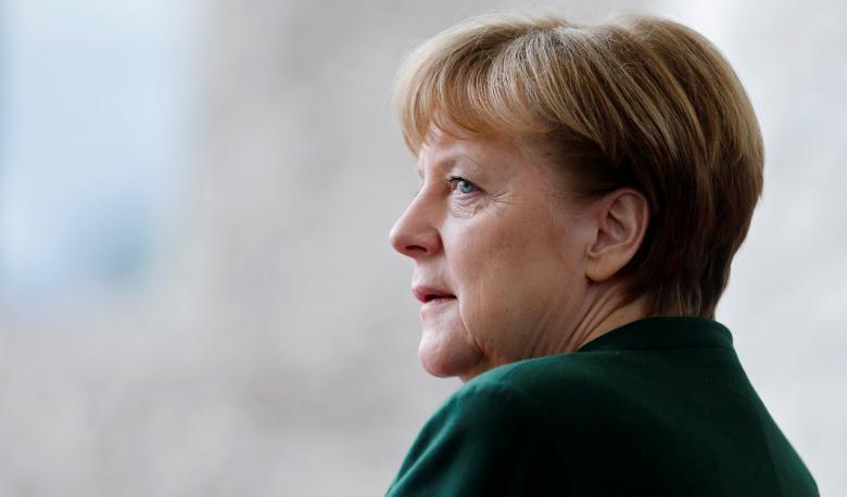 German Chancellor Angela Merkel awaits the arrival of the new European Parliament President Antonio Tajani at the Chancellery in Berlin, Germany, February 24, 2017. REUTERS/Hannibal Hanschke